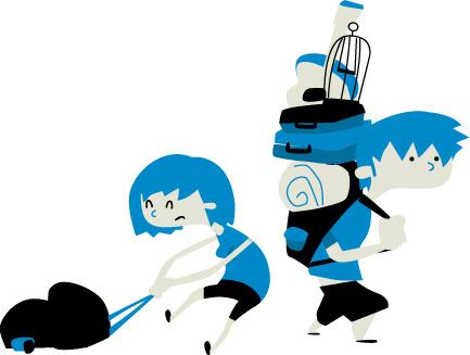Amaya y Diego con sus maleticas